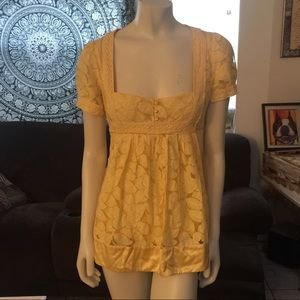 Bebe Bright Yellow Lace Lined Baby Doll Dress M